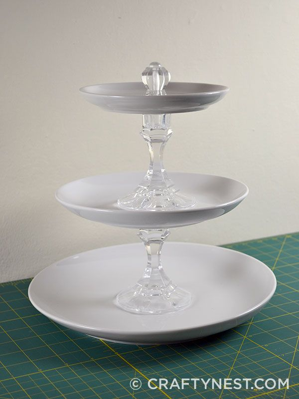 Large DIY tiered jewelry tray - made from plates u0026 glass candlesticks (dollar tree for candlesticks dollar store or thrift store for plates) ... & Large DIY tiered jewelry tray | Glam Room Decor | Pinterest | Trays ...