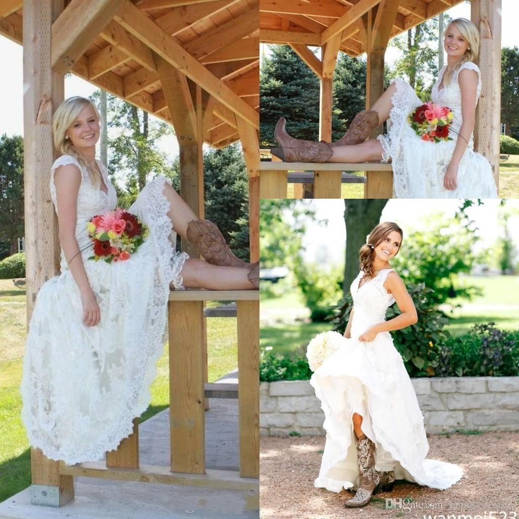 Tea length wedding dresses vintage full lace v neck cap short