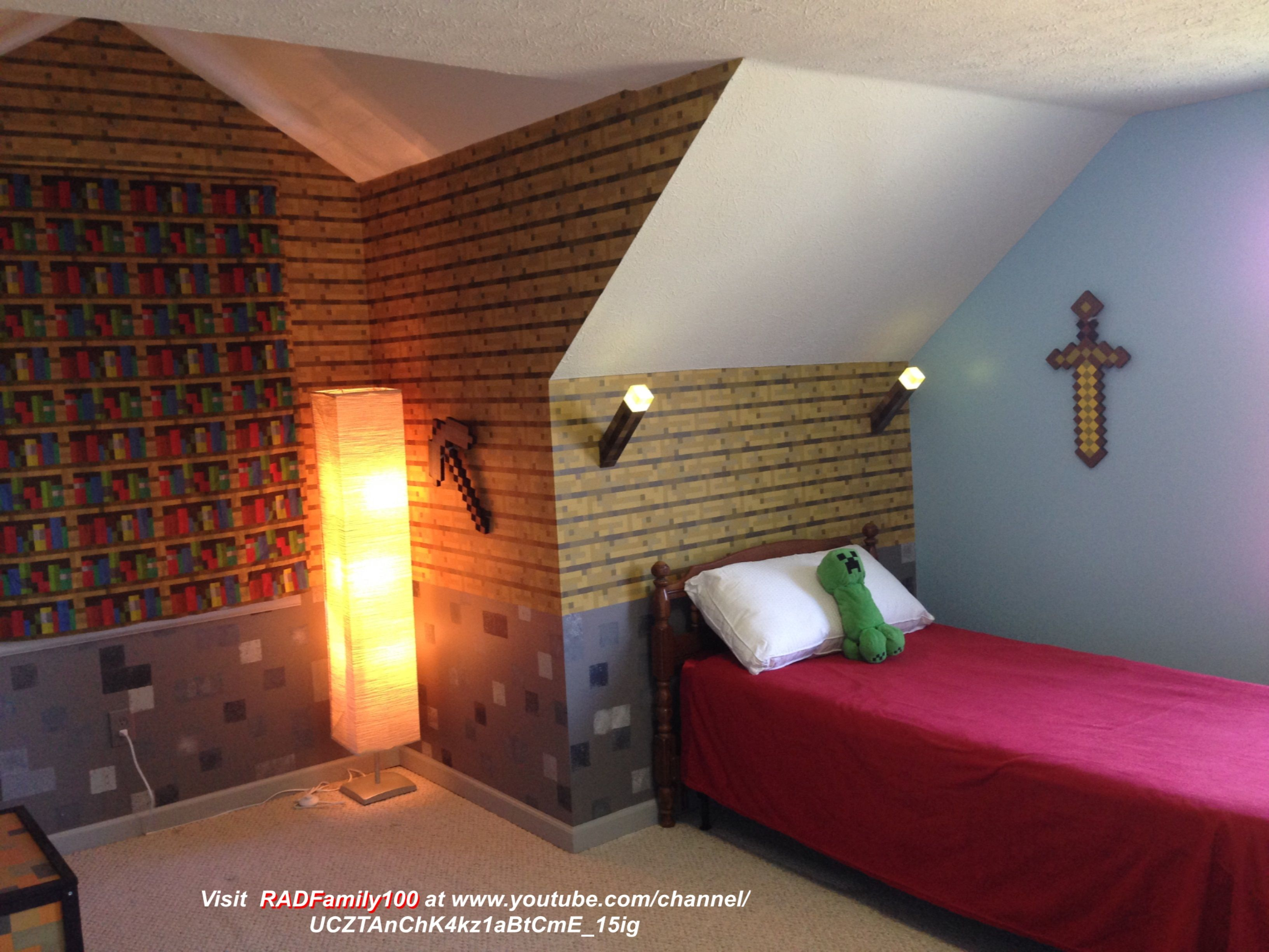 Minecraft Themed Bedroom I Made The Bed Area To Look Like Inside A Minecraft House The Side Walls Minecraft Room Decor Minecraft Room Minecraft Bedroom Decor
