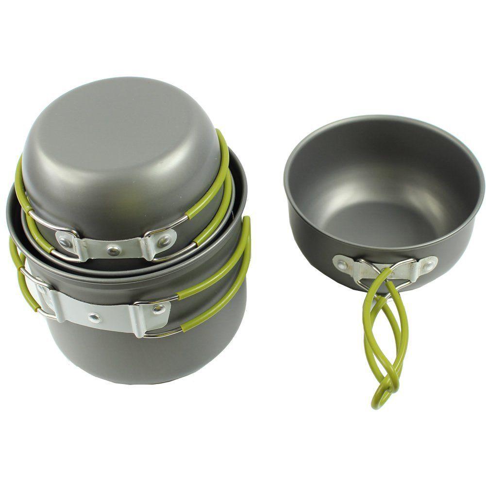 14x Outdoor Camping Hiking Cookware Backpack Cooking Picnic Bowl Pot Pan Set