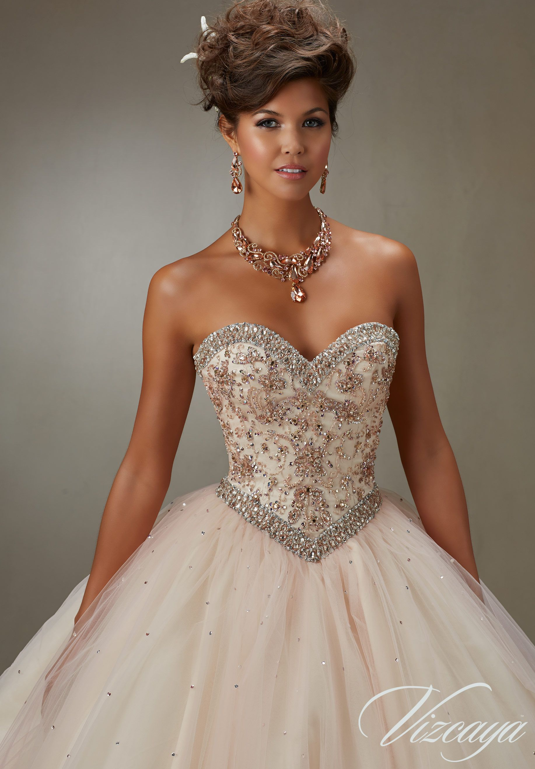 cc732aa8efe Quinceanera Dresses and 15 Dresses by Designer Madeline Gardner. Quinceanera  Dress 89073 Layered Tulle Ball Gown with Embroidery and Jeweled Beading ...