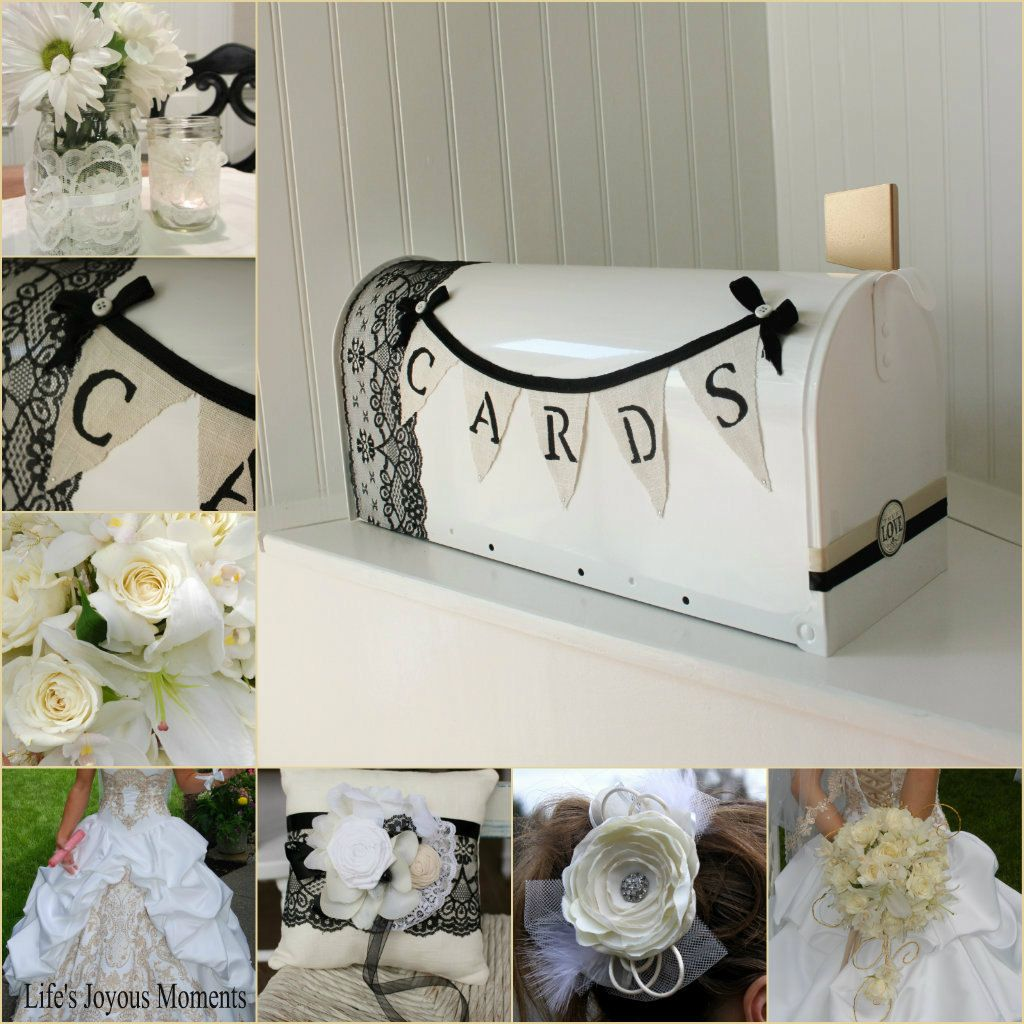 Black and White Champagne Lace Card Holder Mailbox Elegant Wedding ...