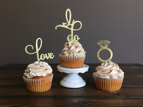 Engagement cupcake toppers, bridal shower cupcake toppers, bridal shower decorations, engagement party decorations, engagement decorations
