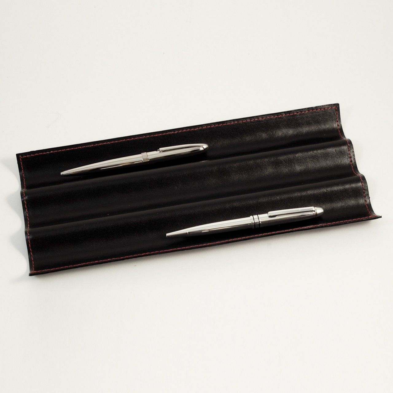 Bey Berk Black Leather Pen Tray W Red Stitching Black