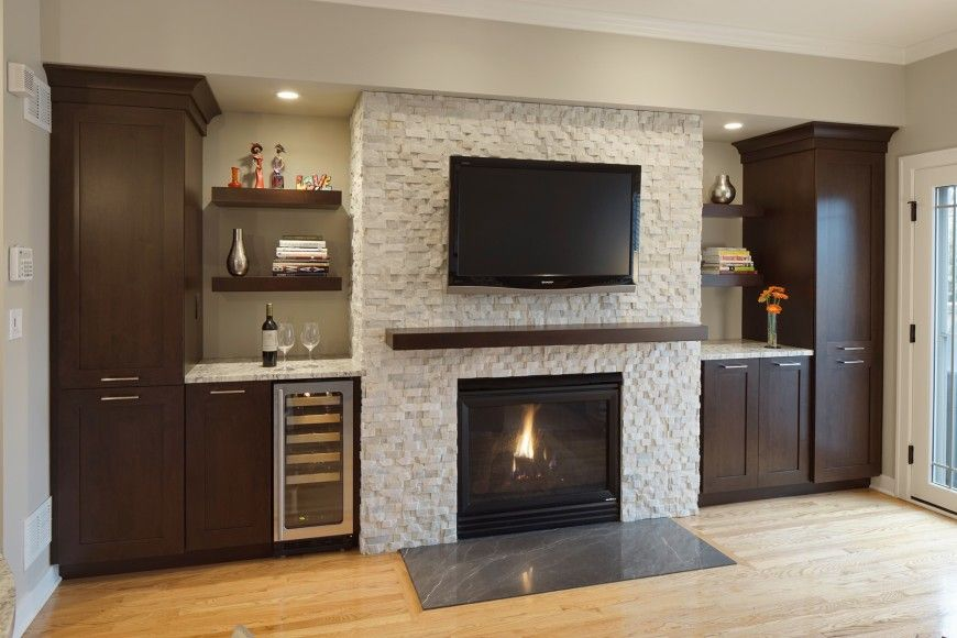 13 diverse family room designs from the drury design - Tile over brick fireplace ...