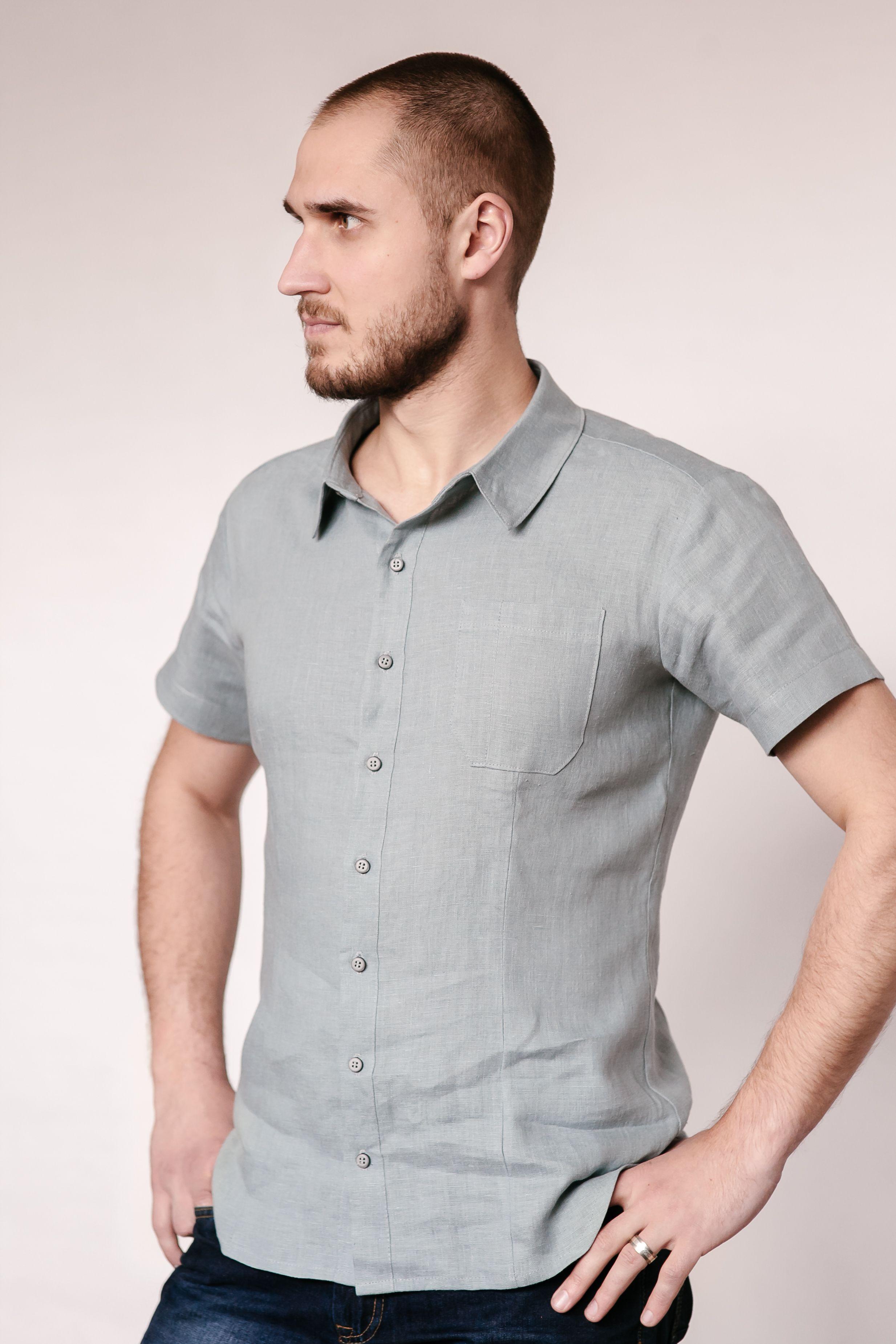 Linen short sleeve mens shirt with images linen