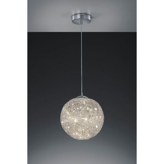 Popular Die dekorative LED Pendelleuchte Thunder aus chromfarbenen Drahtgeflecht wirft sch ne Lichtreflexe