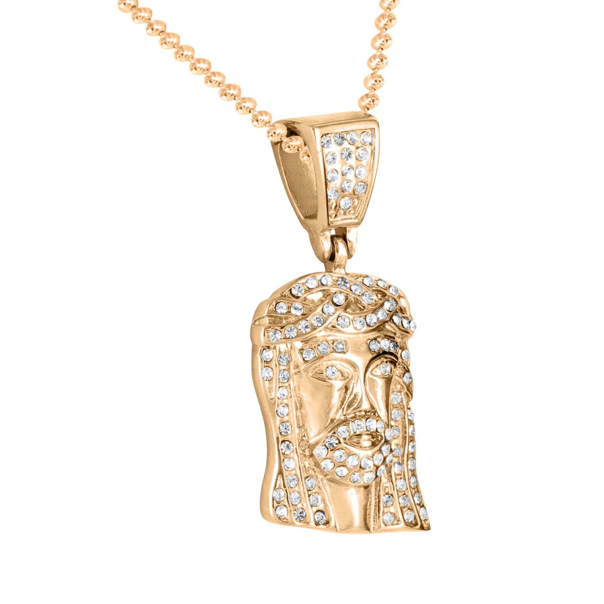 jewelrysmall wholesale chain crystal iced gold product lab plated out pendant white micro simulated jesus hop diamond hip necklace size mini