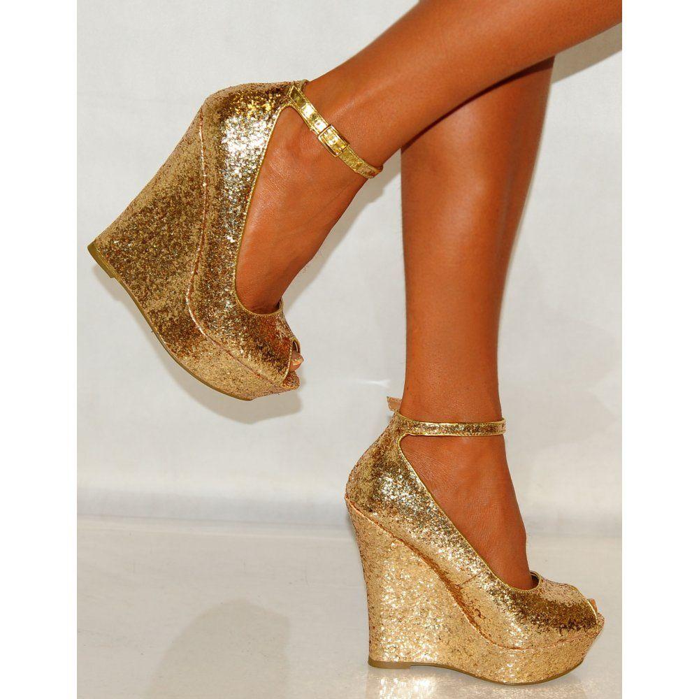 Wedge Wedding Shoes, Gold Heels Wedding
