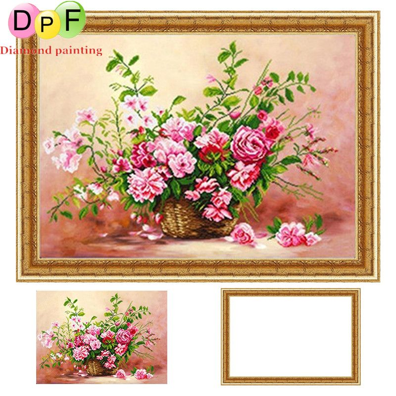 79294f5db6 DPF Framed Diamond Embroidery kits Rose round Diamond Painting Cross Stitch  Needlework Rhinestone home Decor picture crafts #Affiliate