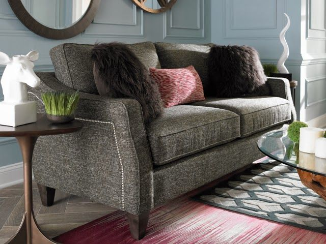 The La Z Boy Sofa In Both A Loveseat And Apartment Sized Is Stylish Great For Small Living Room I Love Nailhead Trim