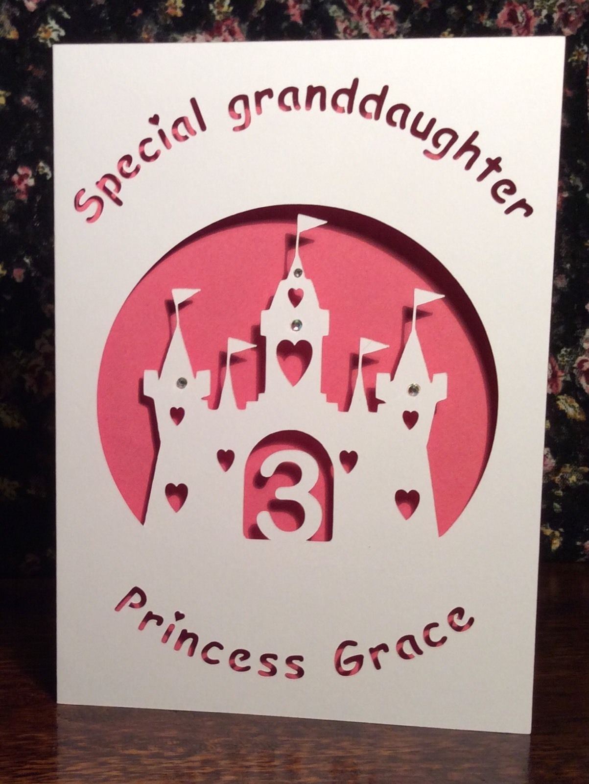 Personalised Birthday Card Princess Granddaughter Handmade Age 1 2 3 4 5 6 7 8 9