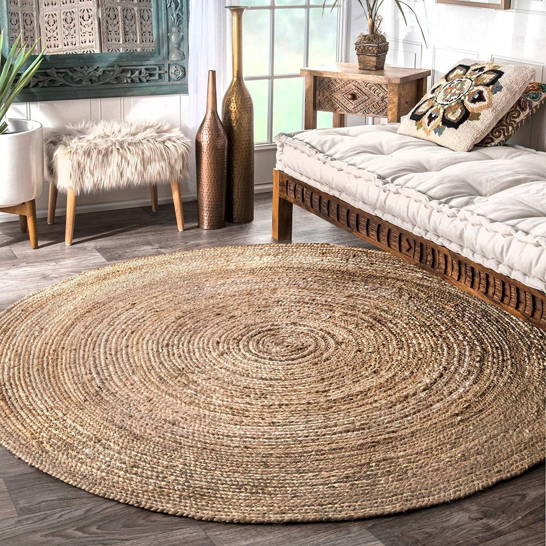 Handmade Braided Natural Jute Soft Area Rugs - 8' Round