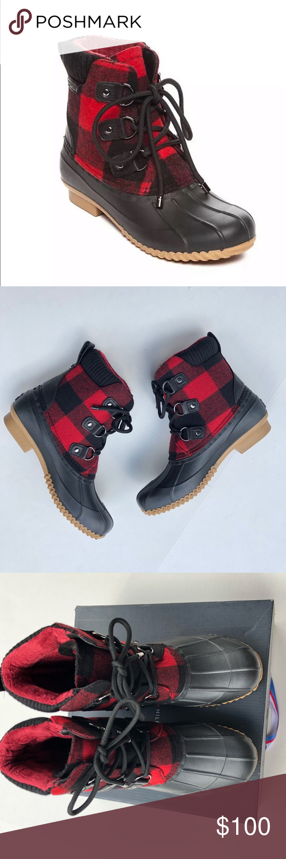 5235f6184ea Tommy Hilfiger Duck Boots Tommy Hilfiger Duck Boots Red and Black ...