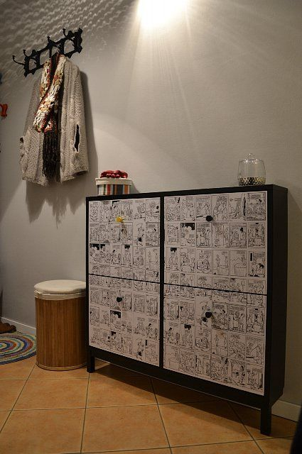 Shoe cabinet with mod podge comic book pages | DIY Projects | Pinterest