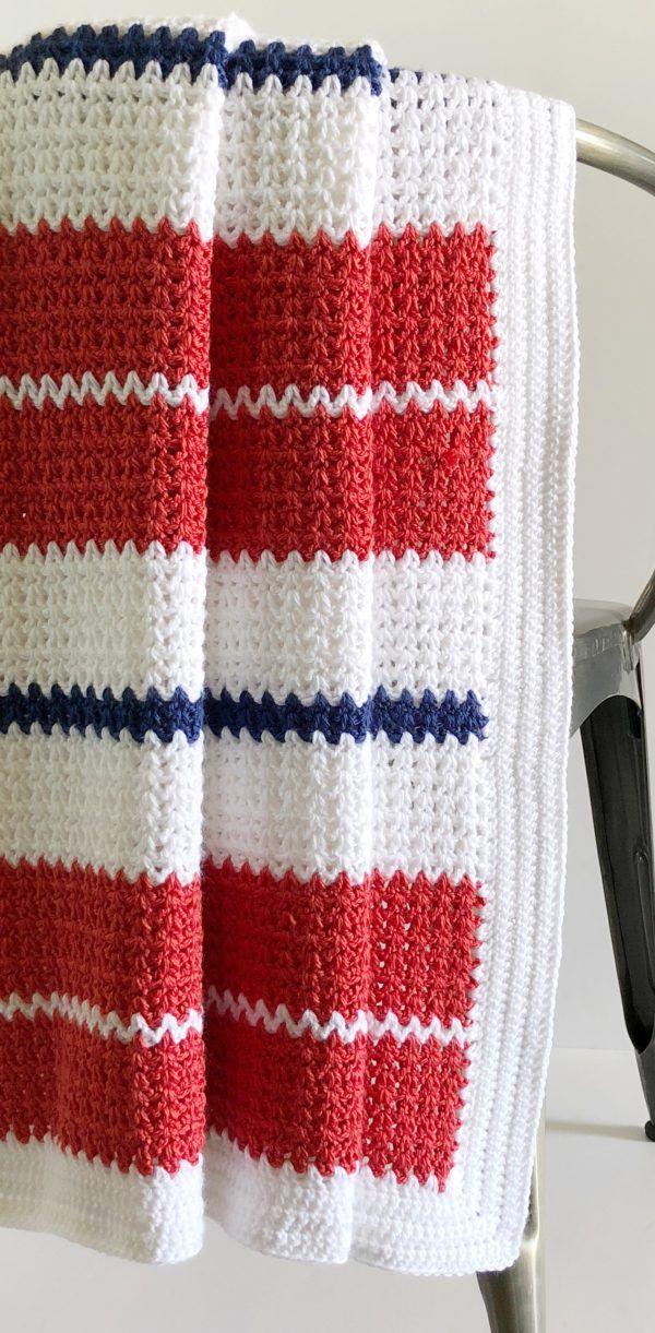 Crochet Modern V Stitch Blanket In Red White And Blue Crochet
