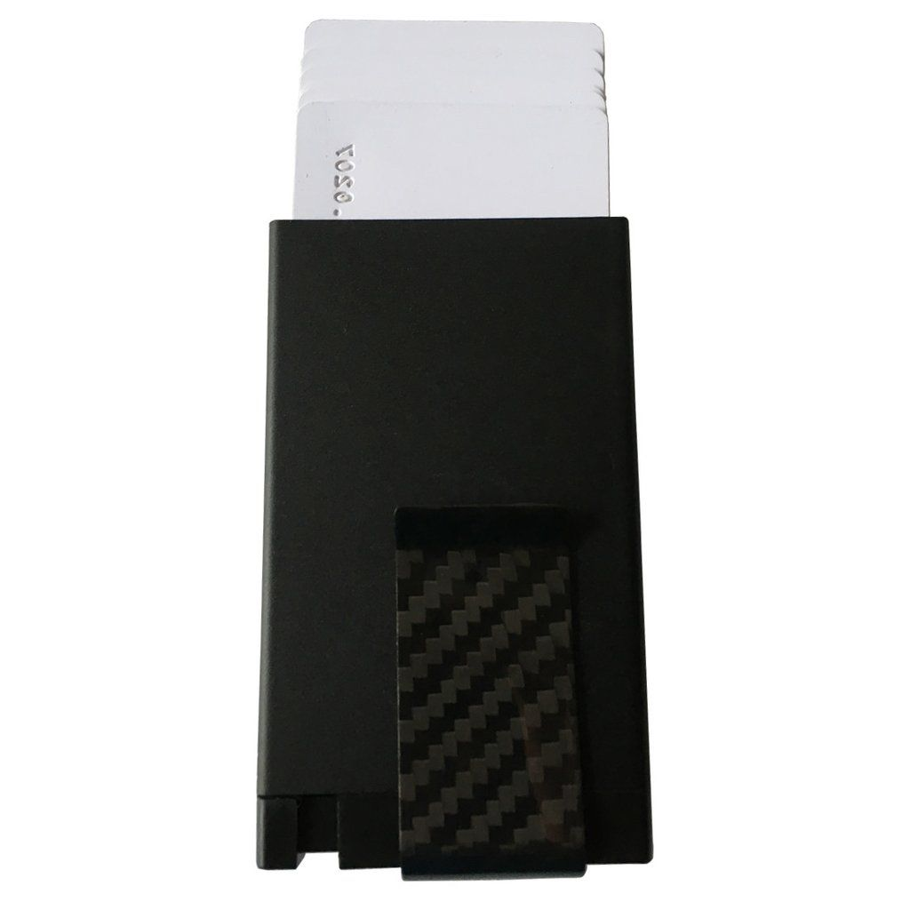Tuopuke RFID wallet with carbon fiber money clip black color