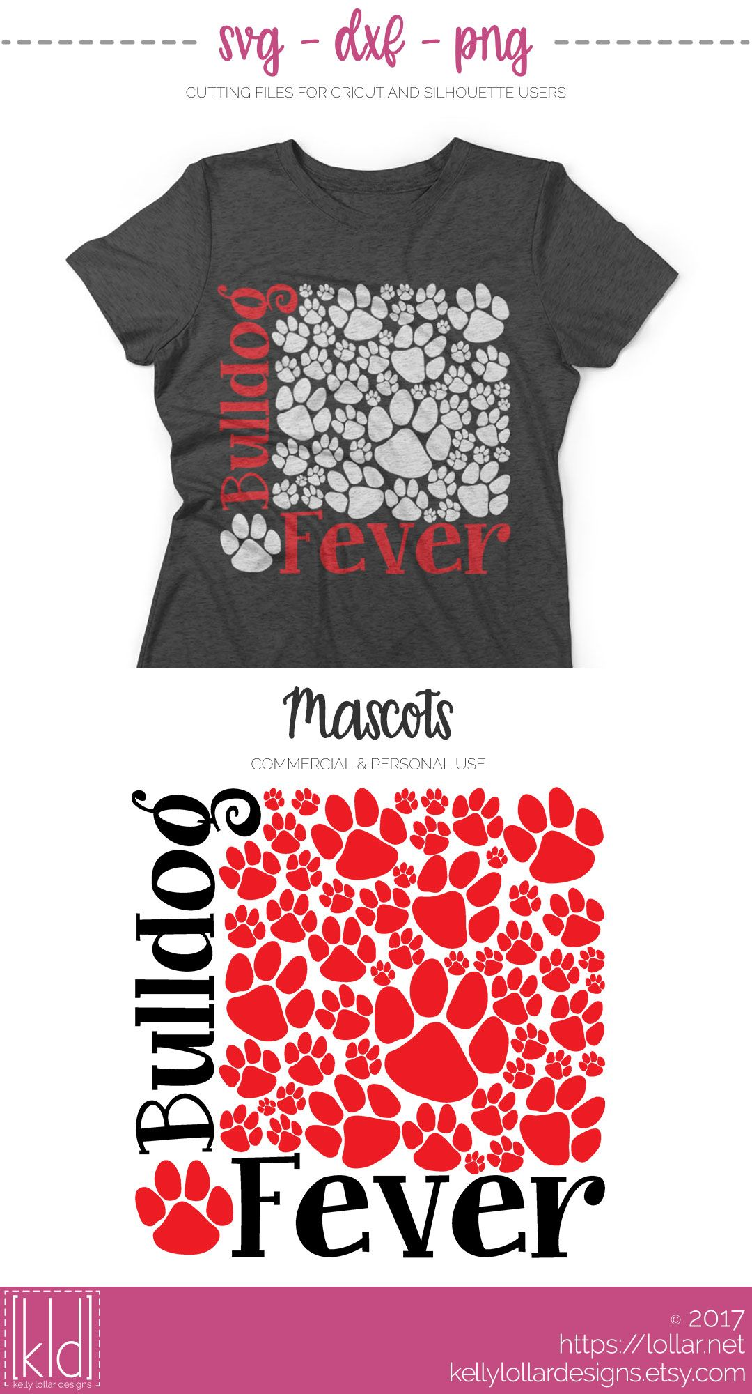 Bulldog Fever svg file filled with paw prints | Kelly ...