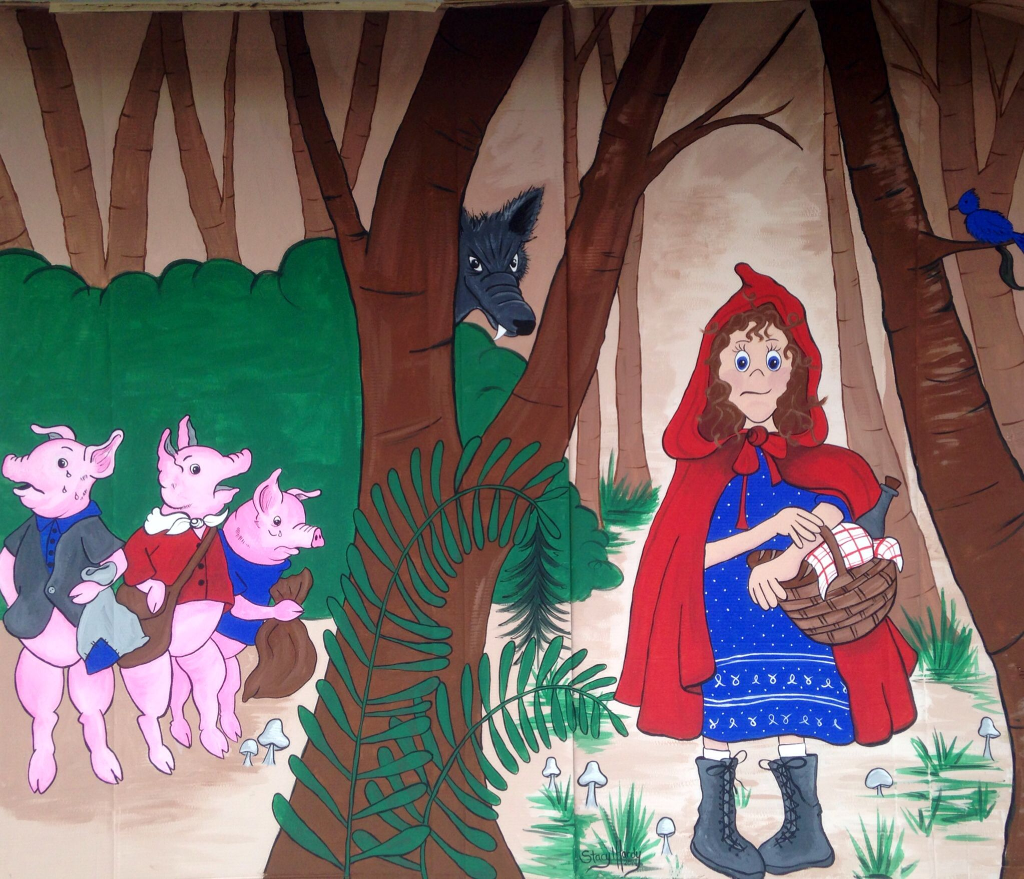 Three Little Pigs Hansel And Gretel Halloween 2020 Mural for Halloween   three little pigs, big bad wolf and little