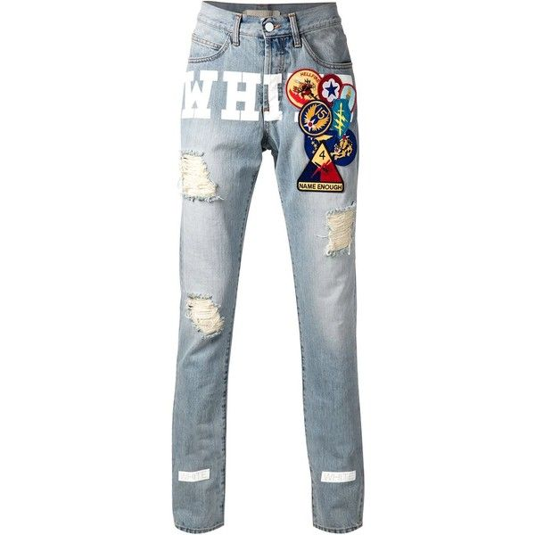 Off-White jean à imprimé logo et patchs L'Espionne (17175 RSD) ❤ liked on Polyvore featuring accessories