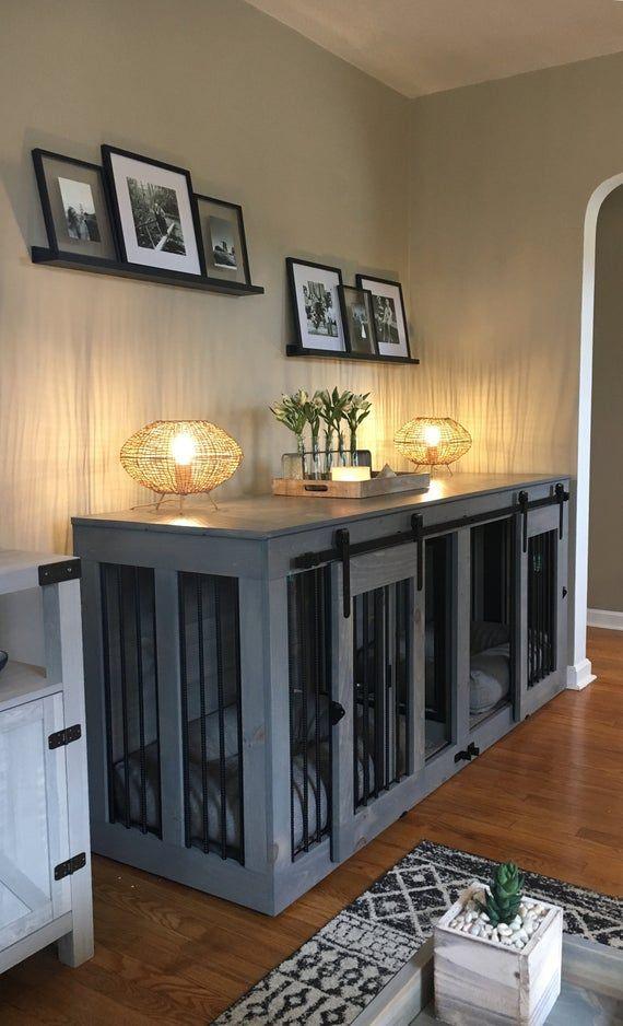 Double door, Dog crate, Handcrafted Dog Crate, Double Door crate, Dog Furniture