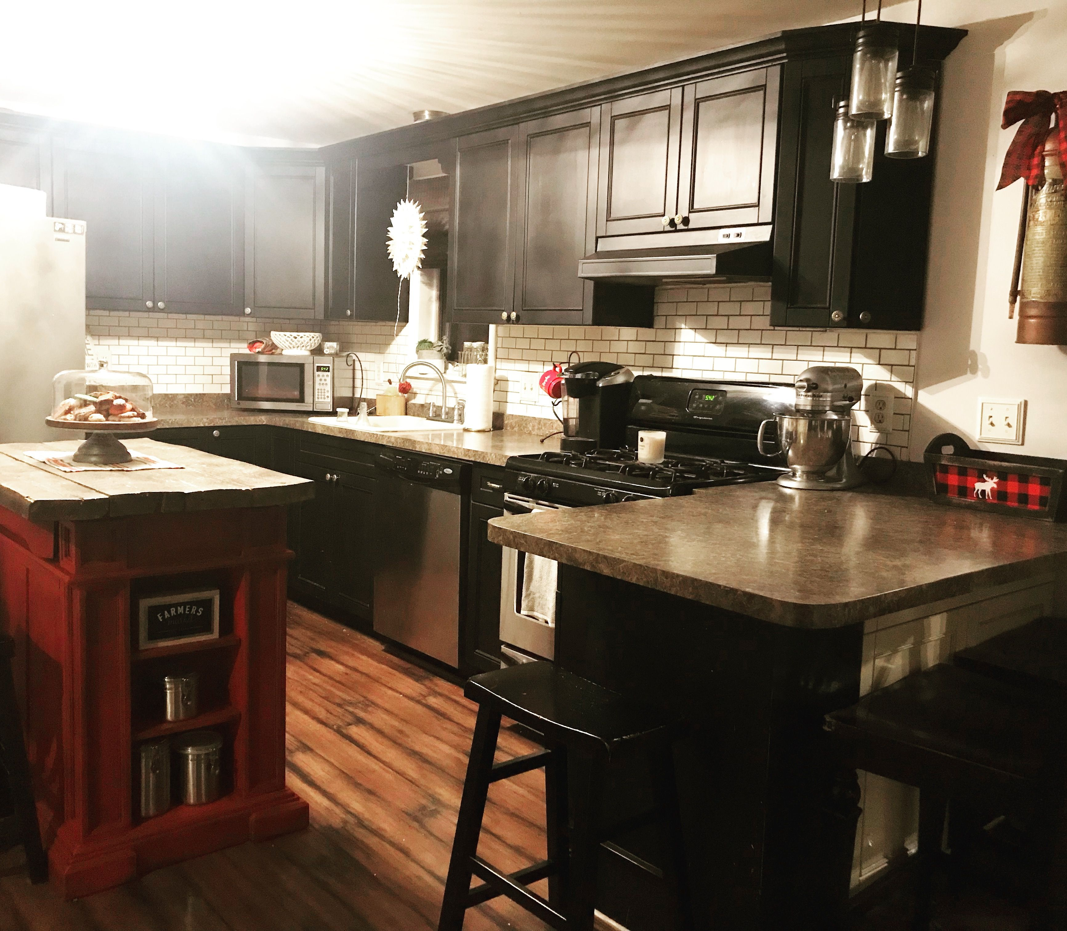 Modern Farmhouse Kitchen Black Cabinets Subway Tile And Red