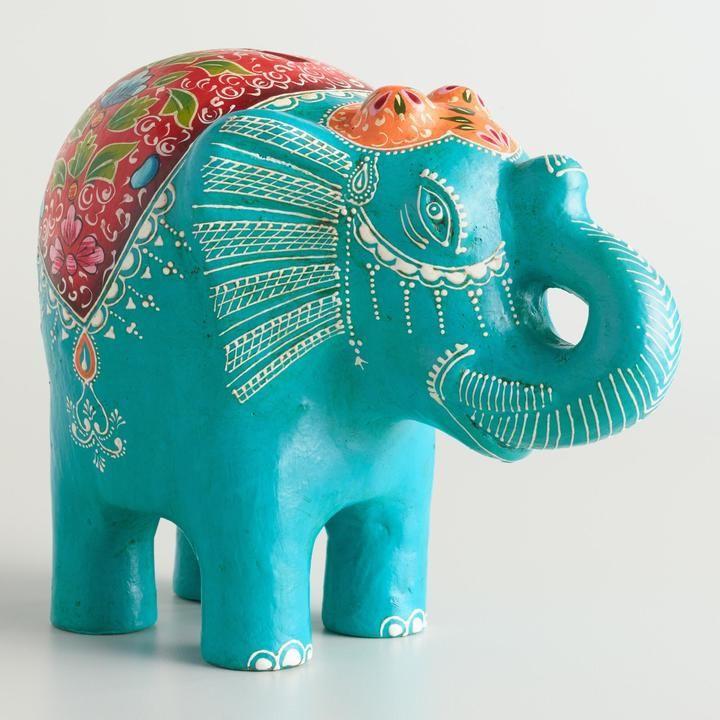 Teal Terracotta Elephant Bank