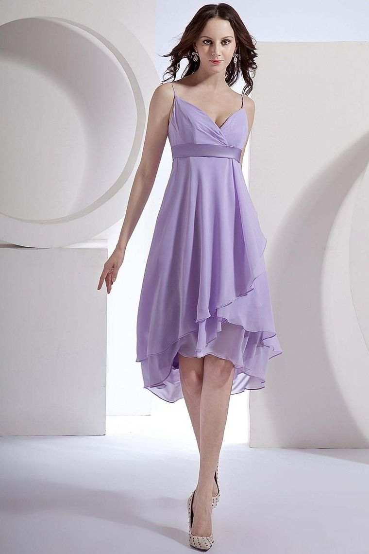 2013 Bridesmaid Dresses Purple Empire Waist Spaghetti Straps Knee ...