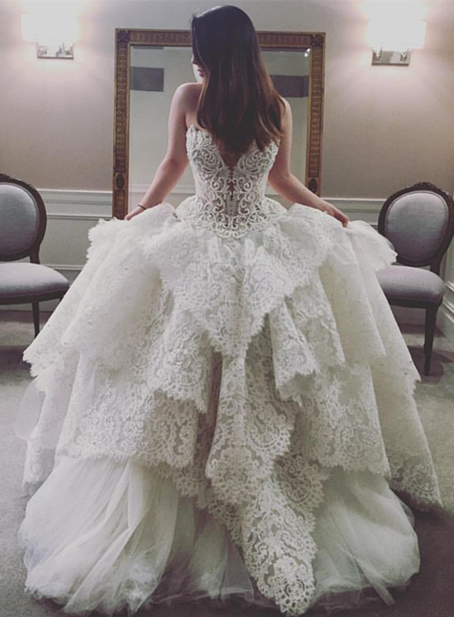 Wedding dresses ball gown sweetheart  Ball Gown Sweetheart Court Train Sleeveless Ivory Tulle Wedding