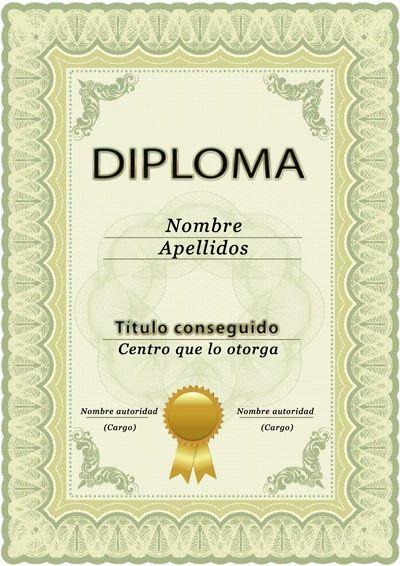 Diploma para curso o estudios, plantilla PSD, vertical Lugares