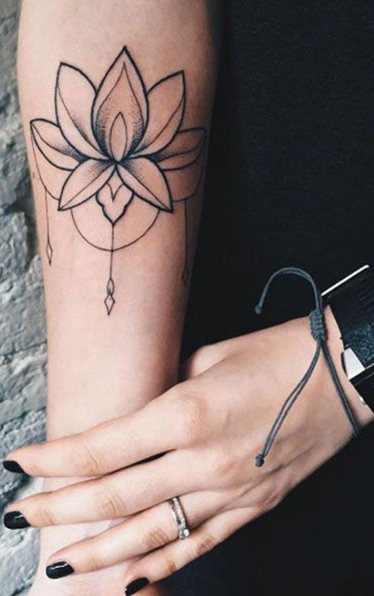 Black And White Lotus Chandelier Forearm Tattoo Ideas For Women Tribal Bohemian Boho Chic Lily Flower Forearm Tattoo Tattoos For Women Unique Forearm Tattoos