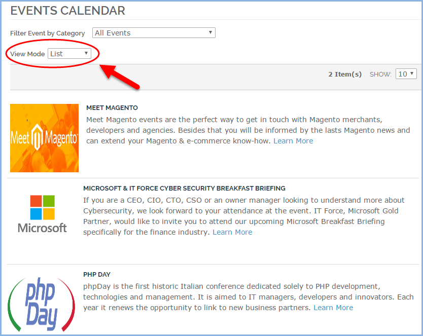 Cso Calendar.Display All Events Of Your Magento Store In The List Mode Magento