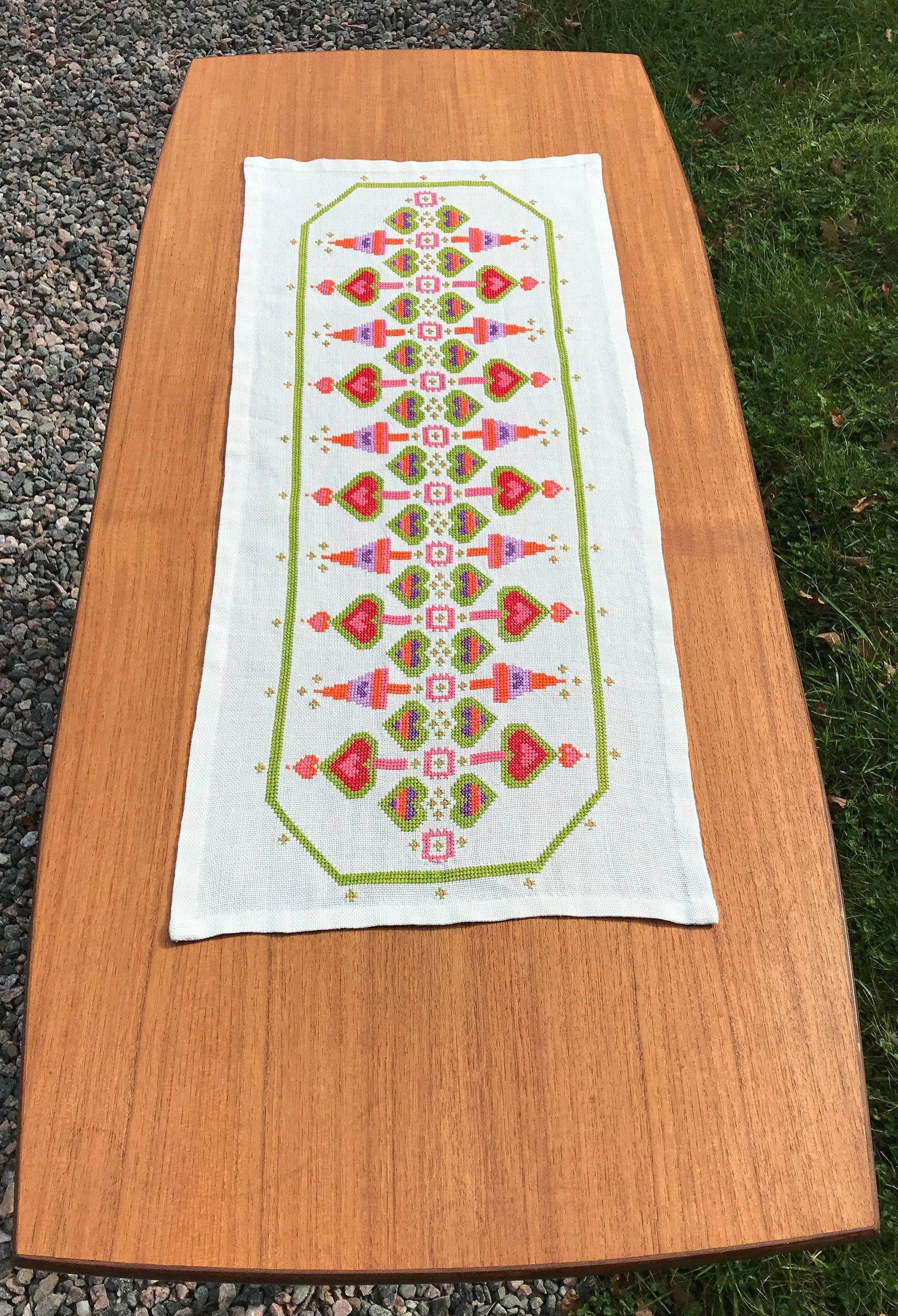 Christmas Table Runner With Colorful Ornaments Swedish Etsy Christmas Table Runner Christmas Table Table Runners