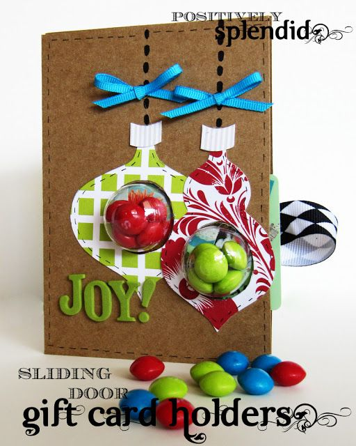 "DIY Christms Gifts | Add a personal touch to gift cards with this gift card and ""sliding door"" candy holder! So cute!"