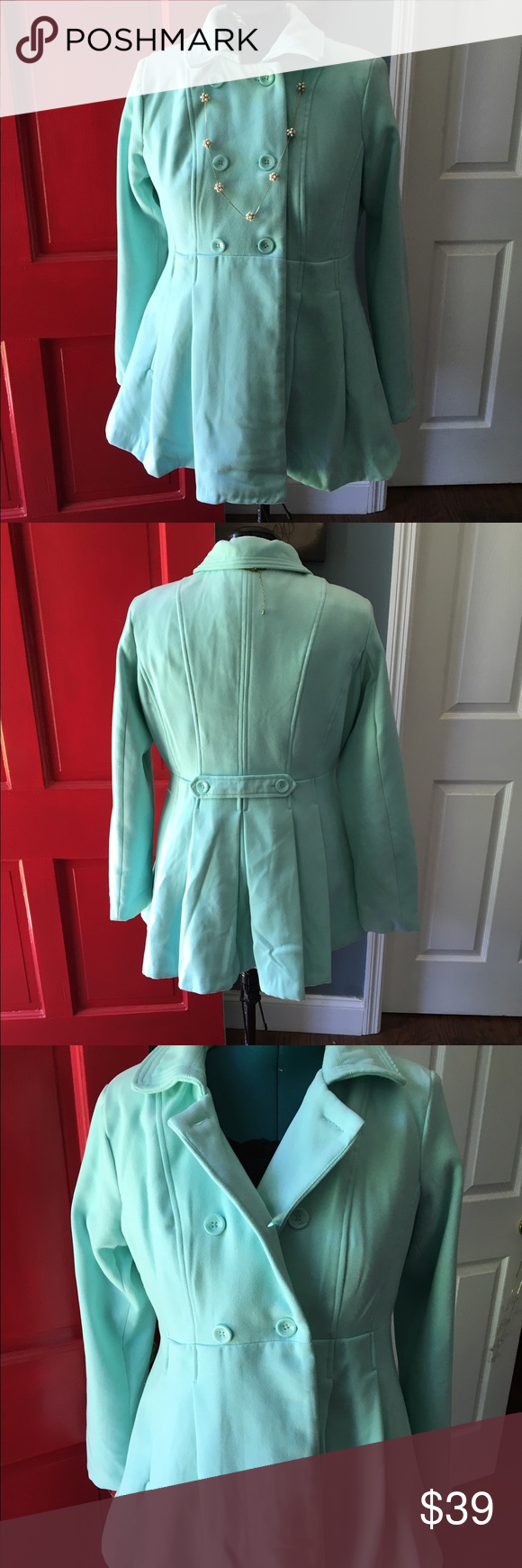 Turquoise double breasted silk lined jacket Soft thick flannel/polyester fabric. Lined in turquoise silk lining. Xhilaration size XL. Very flattering and warm Xhilaration Jackets & Coats Pea Coats