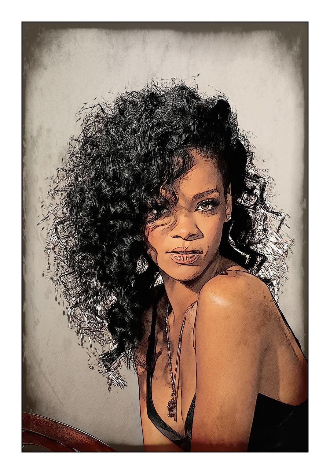 Rihanna: Art That Makes Your Brain Happy!    An Art Work of Rihanna by Dan Newburn of the Morgan-Newburn Foundation for the Arts, Las Vegas, Nevada