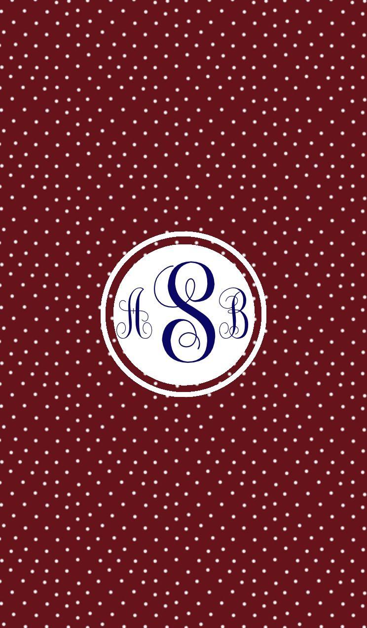 Maroon swiss dot monogram wallpaper for iPhone / iPad