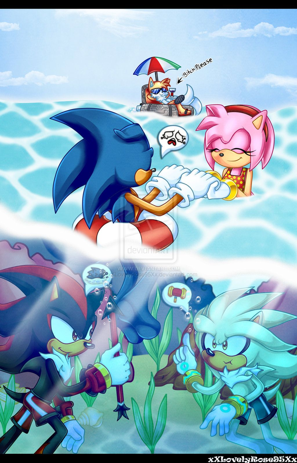 Me: *bumps into him underwater* Shadow: ??!!!!! O.o Me *signs 'sorry'* ^^' Silver:...?