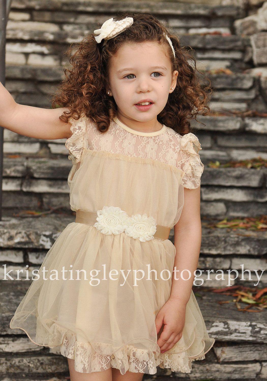 Salethe Olivia Vintage Beige Flower Girl Lace Dress Made
