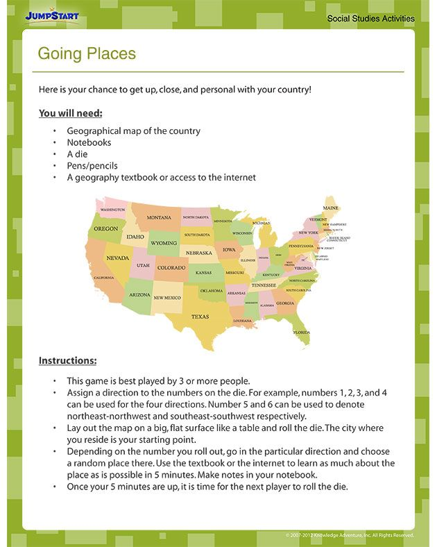 Going Places Free Geography Worksheet for 4th Grade – Middle School Geography Worksheets