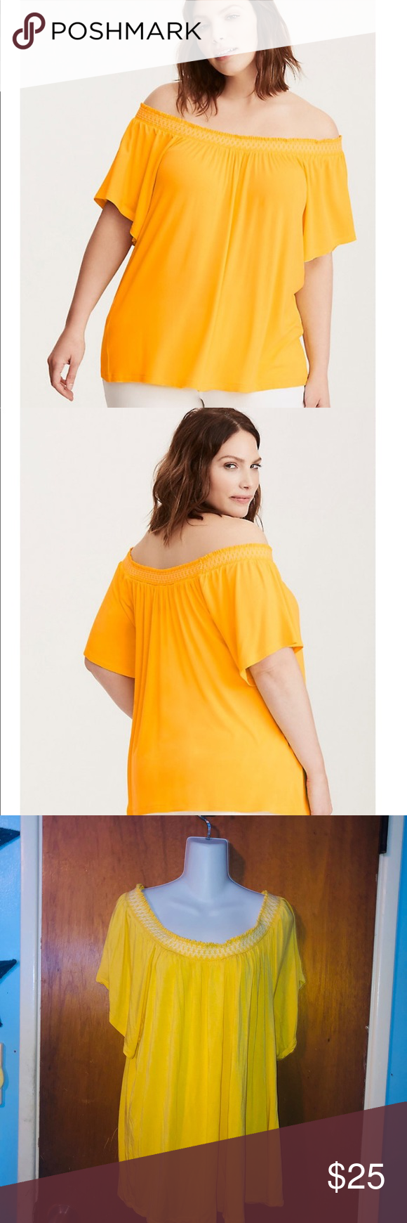 8542283a1c3 Torrid Embroidered Smocked Off Shoulder Top Torrid 2 Yellow Embroidered  Smocked Off Shoulder Top. Sun
