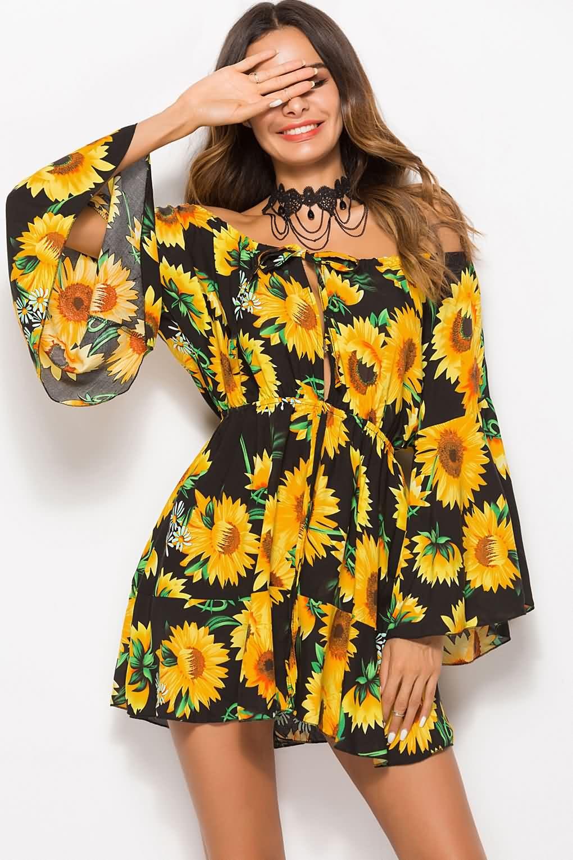 8185667648a0 Women Yellow Sunflower Print Off Shoulder Flare Sleeve Casual Dress -
