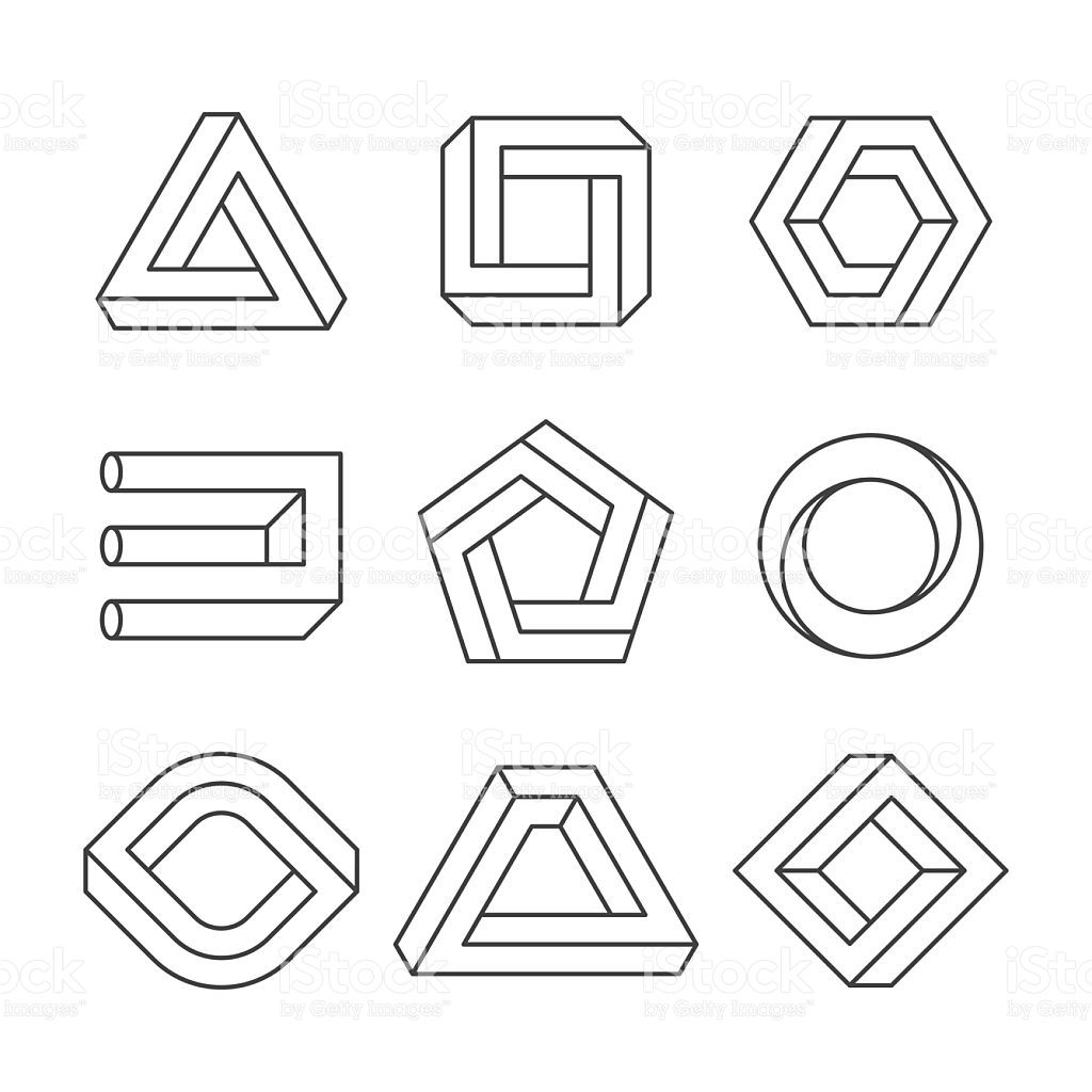 Impossible shapes, optical illusion objects. Vector