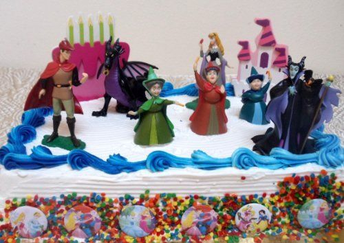 Disney Sleeping Beauty 14 Piece Birthday Cake Topper Set Featuring Princess Aurora Maleficent Witch Maleficient Dragon Prince Phillip Flora Fauna