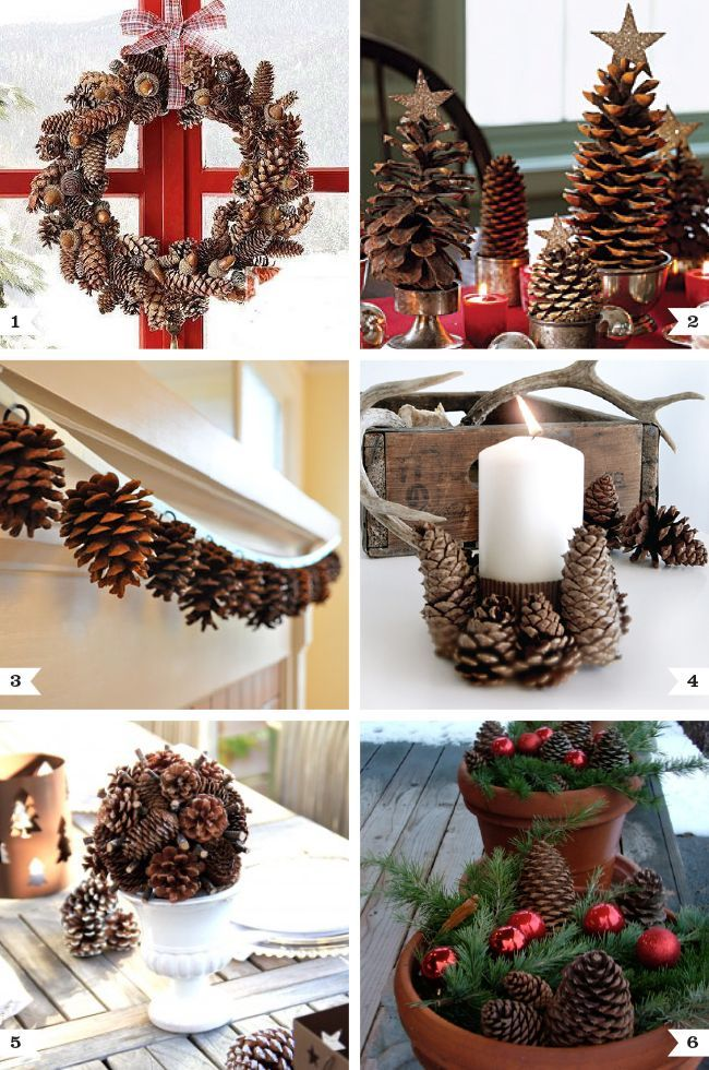 decorating for the holidays using pine cones