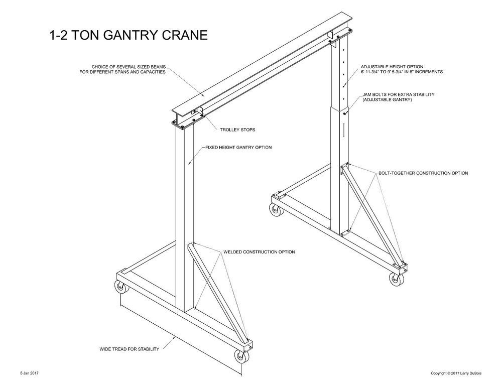 Gantry crane plans 1 to 2 1 2 ton easy to build choice for Shop hoist plans