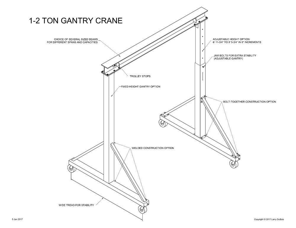 Gantry crane plans 1 to 2 12 ton easy to build choice