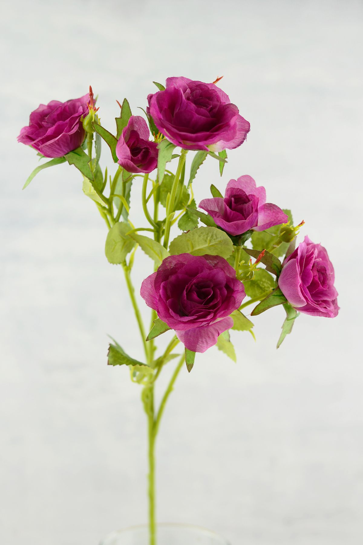 Long Stem Silk Rose Flower Magenta Purple