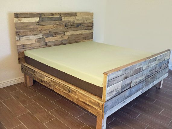 Reclaimed wood platform bed base pallet natural twin full queen king ...