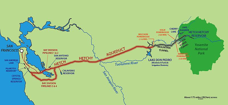 Map of Hetch Hetchy aqueduct from Yosemite to San Francisco Bay Area California Aqueduct Map on